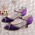 (20 Цветов) Магия Невеста Удобные Женские Летние Сандалии Фиолетовый Атласная Большой Размер