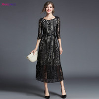 HANZANGL New Arrive 2018 Spring Summer Womens 3 4 Sleeve Hollow Out Lace Dress A Line