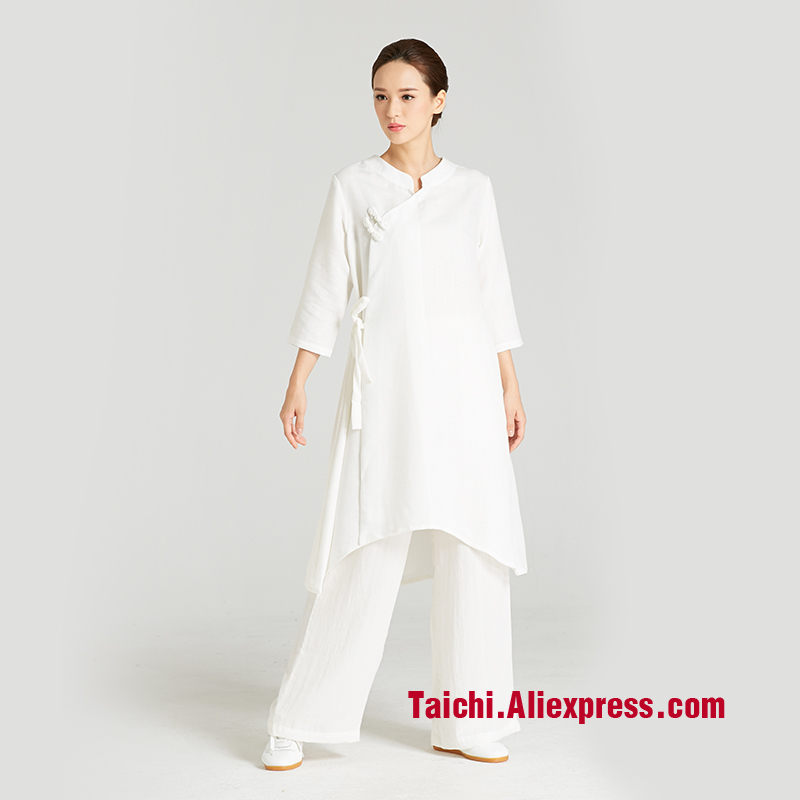Women Handmade Linen Kung Fu Robe,martial Art Suit, Chinese Stlye Clothes, Tai Chi Clothing  Performance Clothing Top+pants new pure linen retro men s wing chun kung fu long robe long trench ip man robes windbreaker traditional chinese dust coat