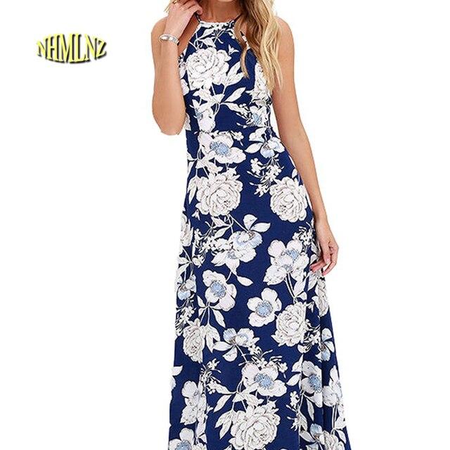 de9766ff28 Floral print halter chiffon long dress Women backless 2019 maxi dresses  vestidos Sexy Blue White beach