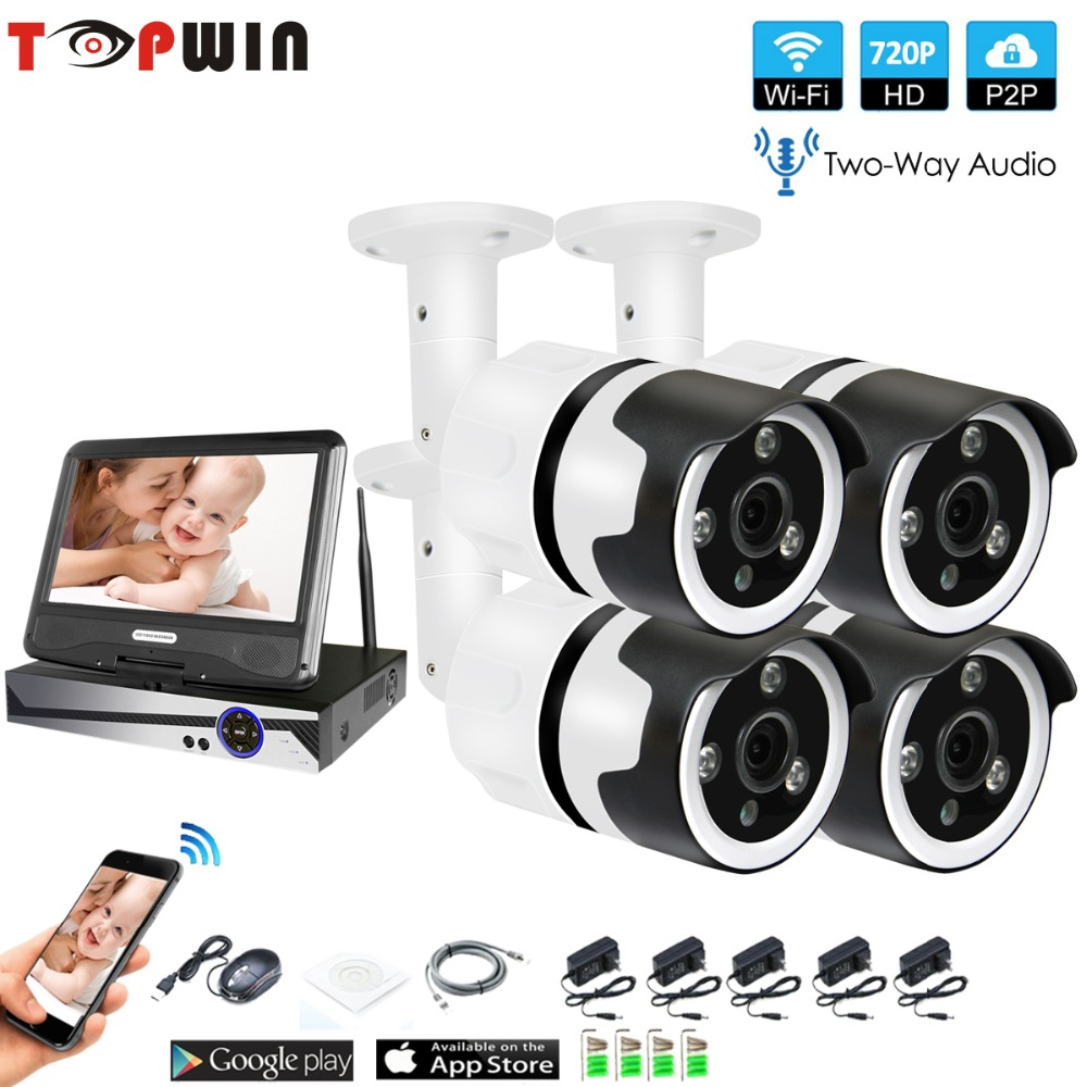 4CH two way audio talK HD LCD Wireless NVR Kit P2P 720P Indoor Outdoor IR Night Vision Security 1.0MP IP Camera WIFI CCTV System 4ch 1080p hd wireless nvr camera system p2p 720p 1mp indoor outdoor ir night vision ip camera wifi cctv camera security system