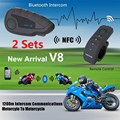 Multi-function 2 x V8 Motorcycle Helmet Interphone Bluetooth NFC Intercom Headset FM 1200M Remote Control Handle for 5 Riders