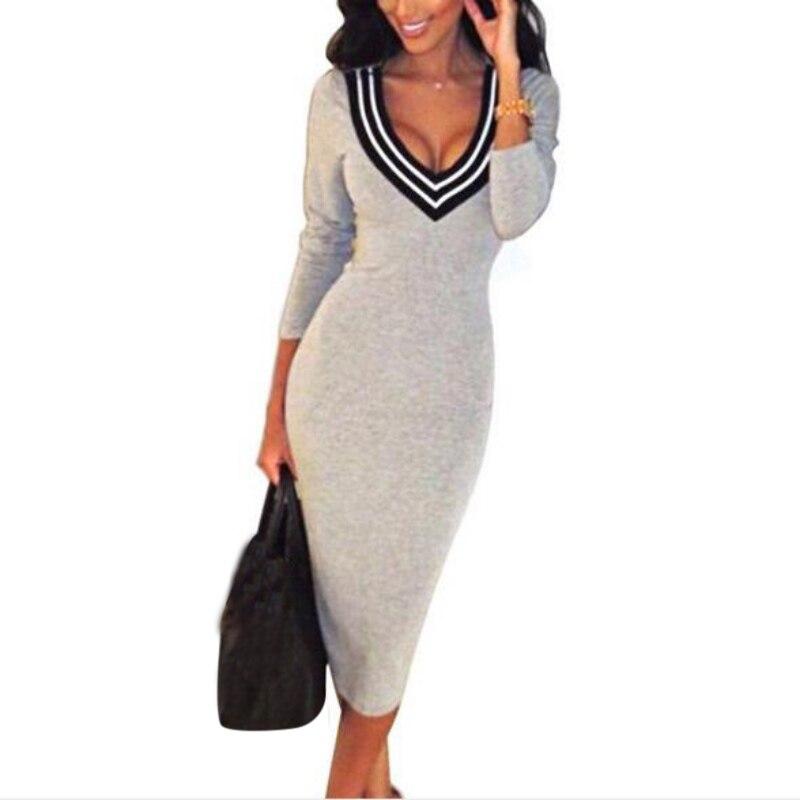 Sexy Gray/Black/Red/Blue Tight Neck V Knee Length Pencil Women's Dress Elastic Skinny Knitted Dress Vestidos