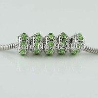 Wholesales 20pcs Peridot Crystal Tibetan Silver Plated Oblate European Big Hole Charm Beads To Make DIY Jewelry Bracelets 6X11mm