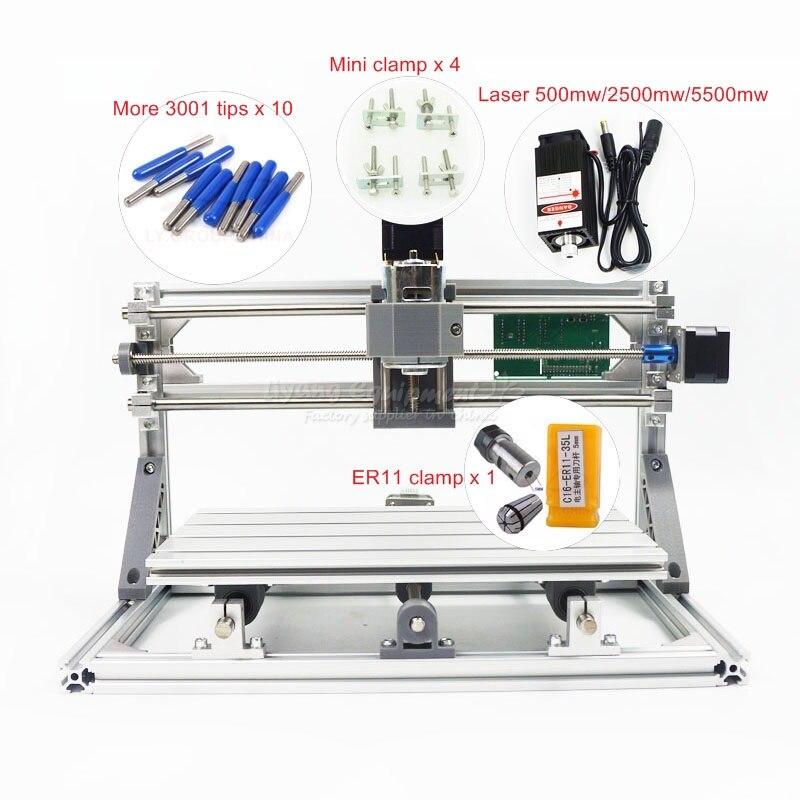 Mise à niveau CNC machine laser 3018 + 500 mw/2500 mw/550 mw pcb fraisage routeur zone de travail 300*180*40mm avec contrôle GRBL