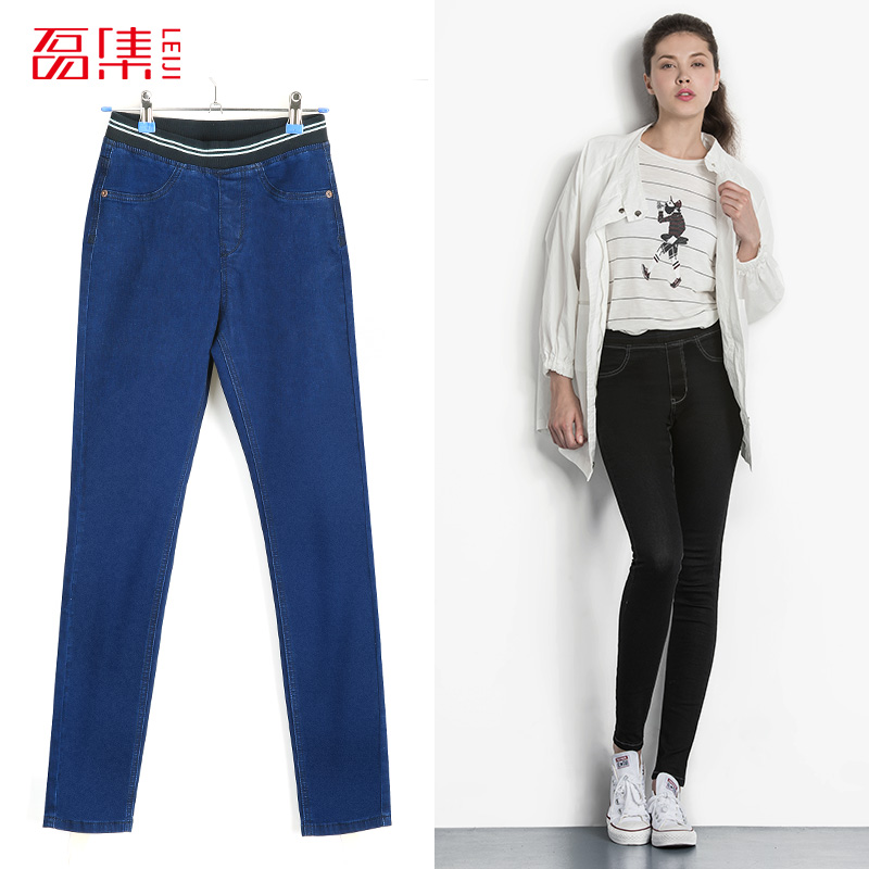 Leiji Fashion Autumn Leggings Blue S 6XL 2017 Woman Mid Waist Plus Size women High Elastic Full Length Pants Skinny pencil Jeans lole леггинсы lsw1234 motion leggings m blue corn