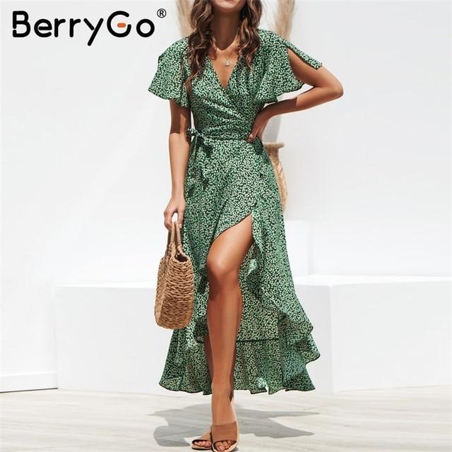 BerryGo V neck leopard summer dress women Boho floral print sashes split female dresses Holiday beach ruffled ladies vestidos