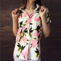 Summer Short Sleeve Beach Shirt Women Floral Blouses Print Cotton Tops Ladies Short Blusas Plus Size
