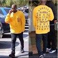 2017 Brand Clothing Новое Прибытие Добычу Мужчины clothing Kanye West I Чувствую, что Пабло Yeezy Сезон 3 Хип-Хоп Теэ Китайский Размер S-3XL