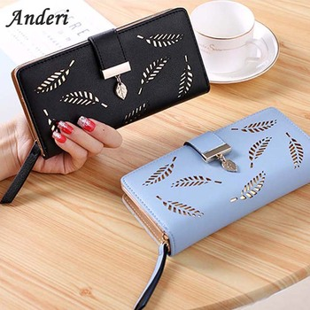 73ff8cb73533 Women Wallet Purse Female Long Wallet Gold Hollow Leaves Pouch Handbag  fashion Ladies Coin Purse Card Holders Portefeuille Femme