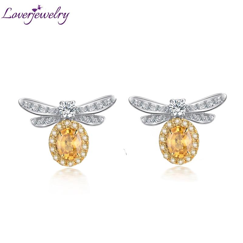 Loverbijoux fille boucles d'oreilles solide 18K deux tons or naturel jaune saphir diamant boucles d'oreilles abeille forme pierre gemme pour les femmes de mariage
