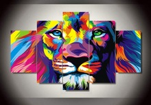 5 Pcs Set Frame Abstract color lion Painting HD prints Canvas Modern Wall Picture For Living