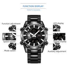 TEMEITE Dual Display Top Brand Mens Quartz Digital Watches Luxury Fashion Watch LED Male Clock Date Wristwatches Relogio