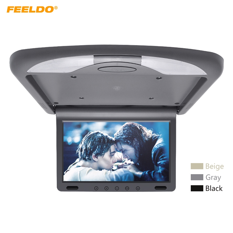 FEELDO DC12V 10.1 Inch Car Roof Mounted TFT LCD Monitor 2-Way Video Input Flip Down Multimedia Video Ceiling Roof mount Display