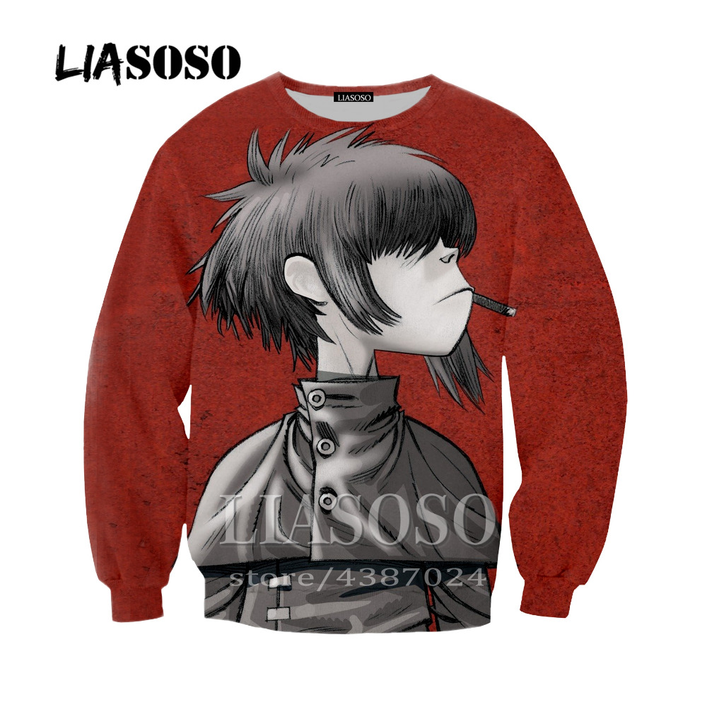 LIASOSO Newest Harajuku Classic Anime Gorillaz 3D Printing Casual Long Sleeve Hoodie Hooded Pocket Pullover For Men Women Y256