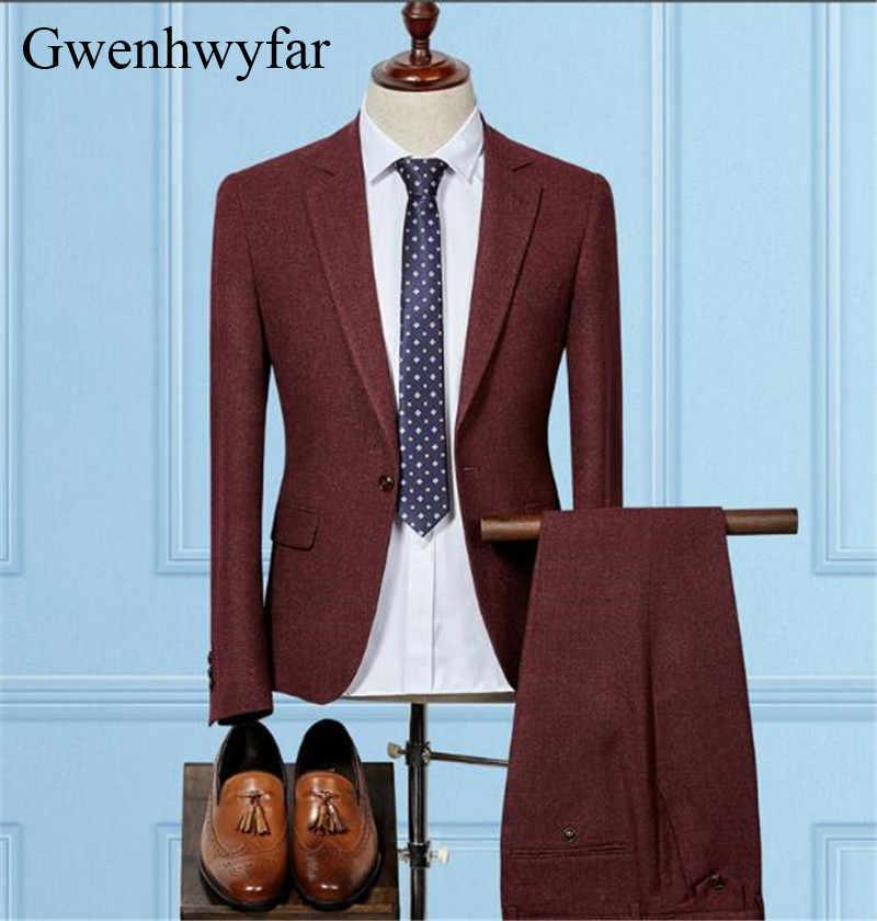 Gwenhwyfarブルゴーニュ/グレー/黒/紺ノッチラペル新郎タキシード4色男性スーツウェディング最高の男ブレザー(ジャケット+パンツ)