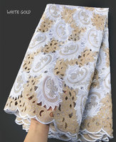 5 yards White Gold Handcut African lace fabric beautiful Nigeria garment sewing lace fabric with lots of stones