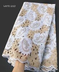 5 yards White Gold Handgesneden Afrikaanse kant stof mooie Nigeria kledingstuk naaien kant stof met veel stenen