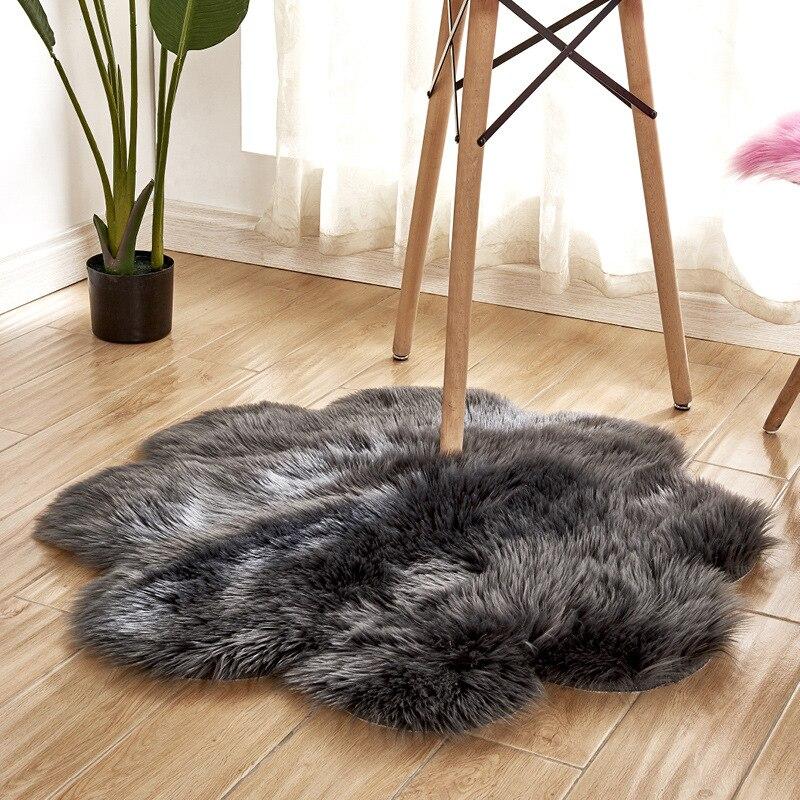 Plus épais peluche solide tapis anti-dérapant tapis fleur forme tapis doux tapis pour enfants chambre salon tapis rose bleu Vloerkleed