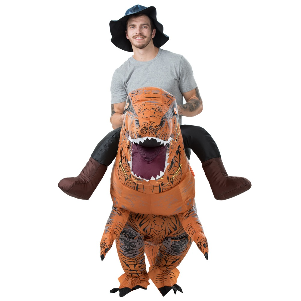 Adult T REX Inflatable Costume Christmas Cosplay Dinosaur Animal Jumpsuit Halloween Costume for Women Men MASCOT Free Shipping