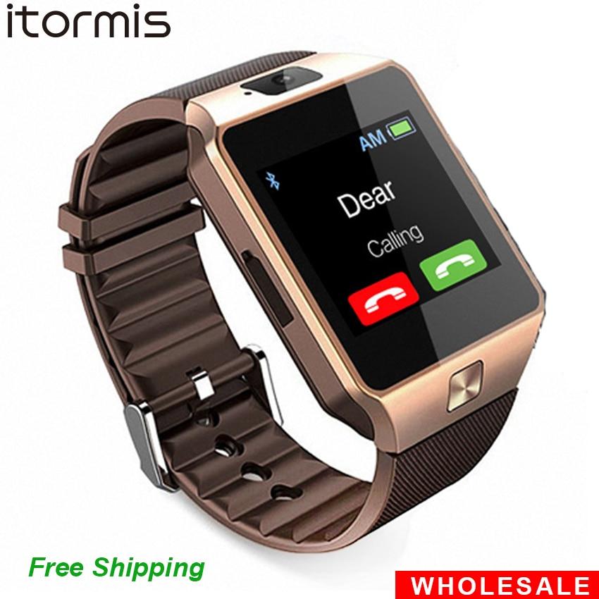 d43a81bd14b Atacado DZ09 2 pcs Smartwatch Bluetooth Relógio Inteligente Telefone Celular  SIM Card TF Reloj Inteligente PK GT08 A1 U8 para iOS Android em Relógios ...