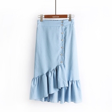2017 Autumn New Women Fashion All-match Single Breasted Denim Skirt Female Irregular High Waist Ruffles Skirts Girls Long Skirt