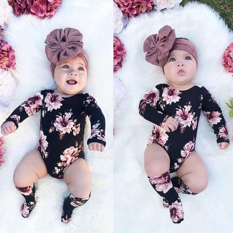 Baby Girls Floral Long Sleeve Romper Bodysuit Jumpsuit with Leg Warmer Stockings
