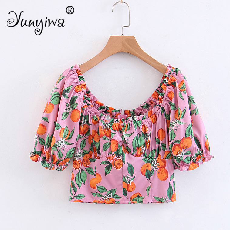 Yuuyiwa Women   Blouses     Shirts   Women's new wholesale word shoulder wood ear orange   shirt   Tops Blusas Mujer De