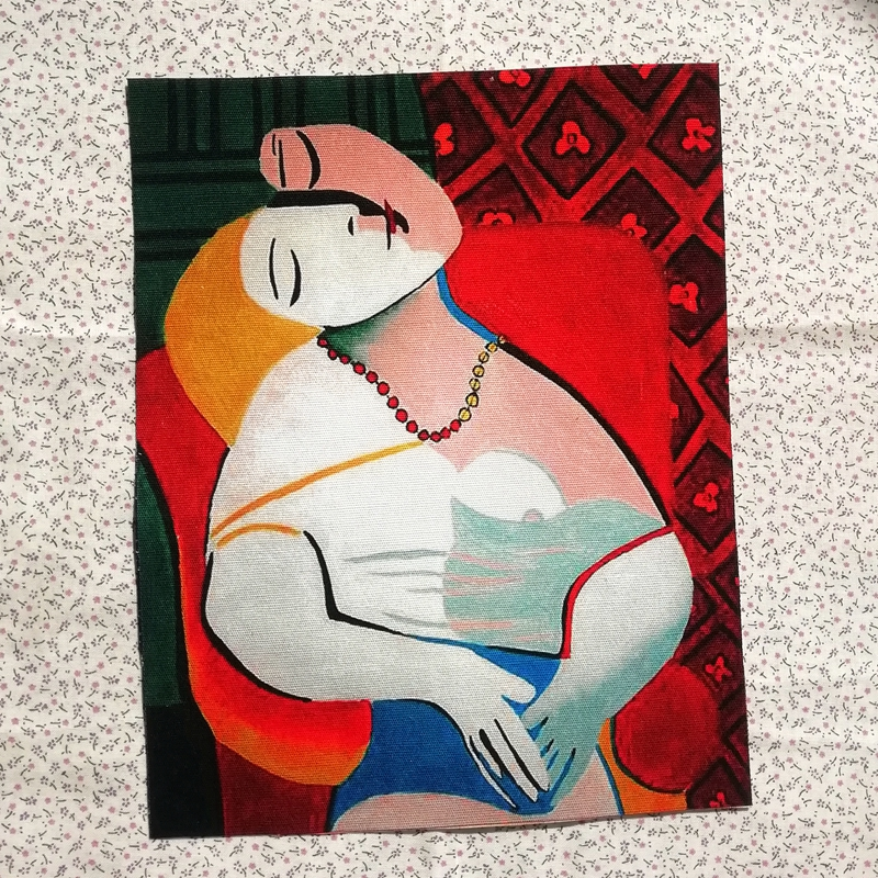 hand dyed Fabric Picasso cotton canvas Patchwork diy Sewing Cloth Craft Decoration Oil Painting Dream wall decoration(China)