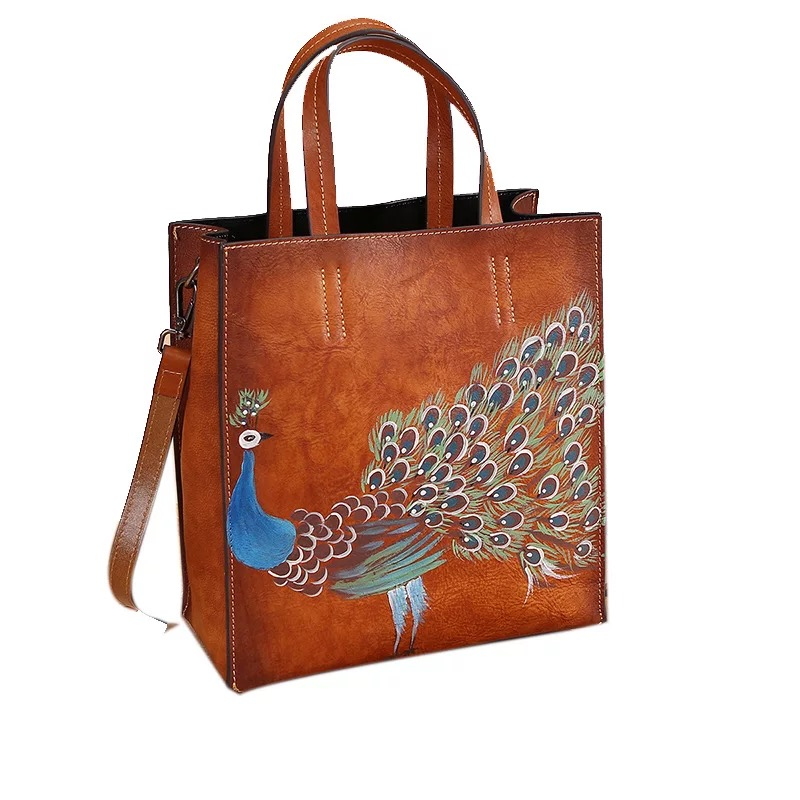цена на Vintage Designer Hand Painted Lady Top handle Handbag First Layer Genuine Leather Female Clutch Purse Woman Single Shoulder Bag