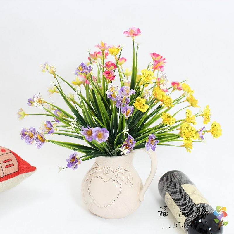 1 PCS Beautiful Artificial Plastic Grass with Small Flowers Home decoration Gift 4 Colors Available F461