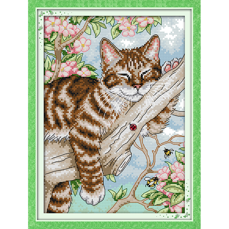 Everlasting love Christmas A lazy cat on the tree Chinese cross stitch kits Ecological cotton stamped New store sales promotion