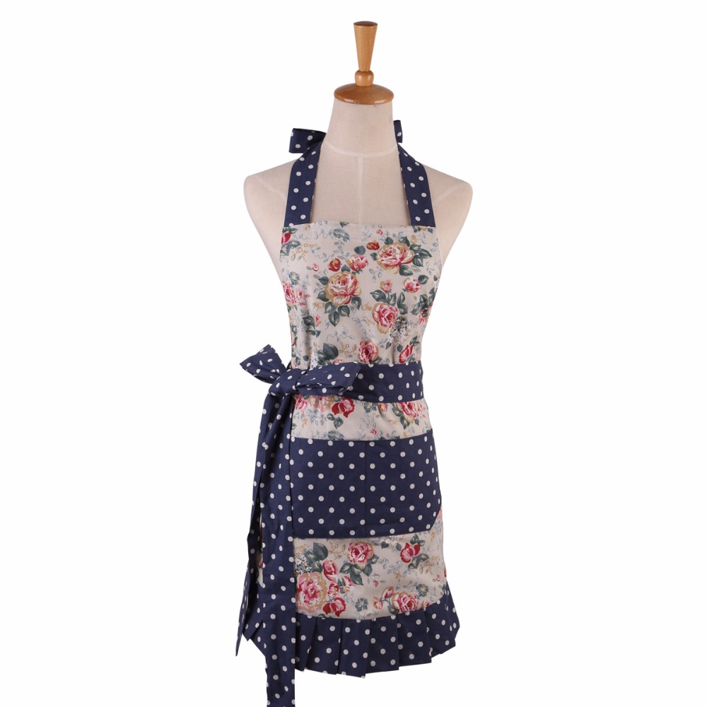 100% Cotton Kitchen Women Apron European Flower Splicing Wave point Fabric Design Aprons Elegant Princess Apron Dress