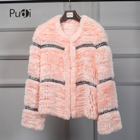 Pudi CT7027 Ms winter new fur coat and comfortable rex rabbit hair knitted coat a variety of color optional fur coat women's