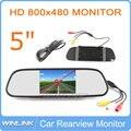 """5 """"16:9 Digital Color TFT LCD Carro Espelho Retrovisor Monitor de Segurança Monitor para Camera DVD VCR PAL/NTSC DC12V Entrada de Vídeo 2 porta"""