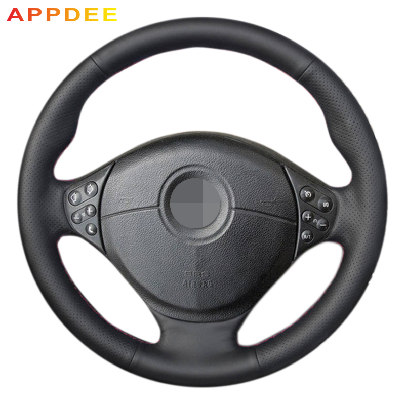 APPDEE Black Genuine Leather Car Steering Wheel Cover for BMW E39 5 Series 1999-2003 E46 3 Series 1999-2005 E53 X5 E36 Z3 mewant black artificial leather car steering wheel cover for bmw e36 e46 e39