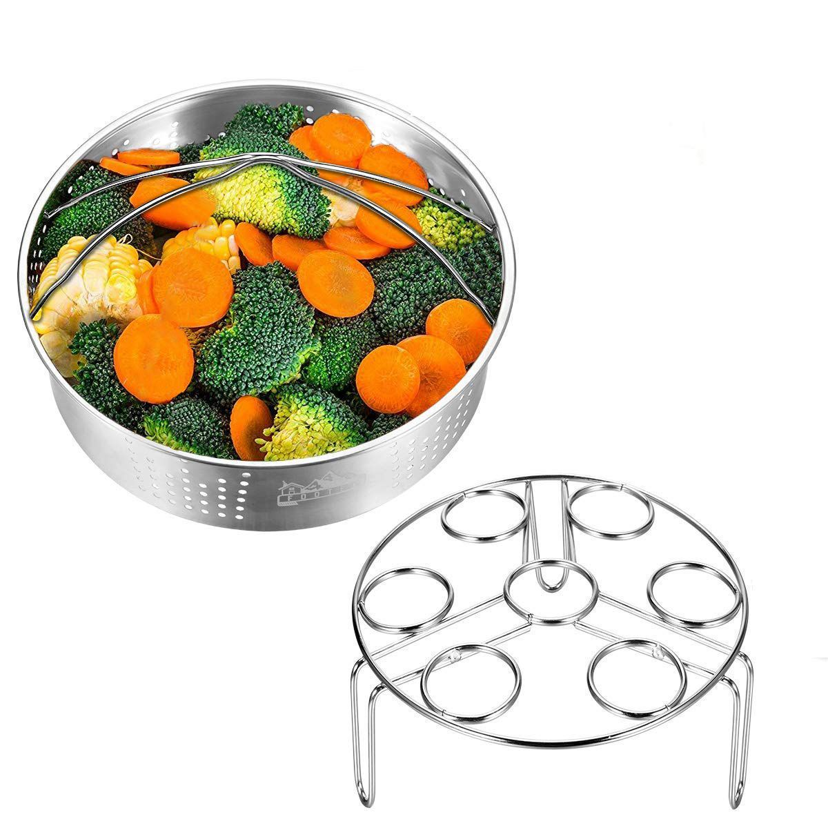 Steamer Basket With Egg Steamer Rack For Instant And Pressure Cooker Accessories Vegetable Steam Rack Stand Fits 5,6,8 Qt Pres