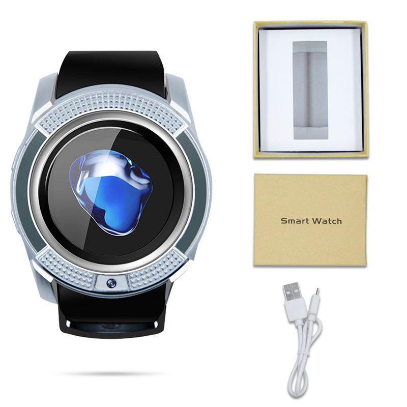 V8 Smart Watch Bluetooth Round Screen Smartwatch Support SIM / TF Card Sport Watches for Samsung Huawei Android Smartphone 10PCS цена