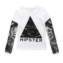 Tattoo Printed Long Sleeve T-Shirts For Kids