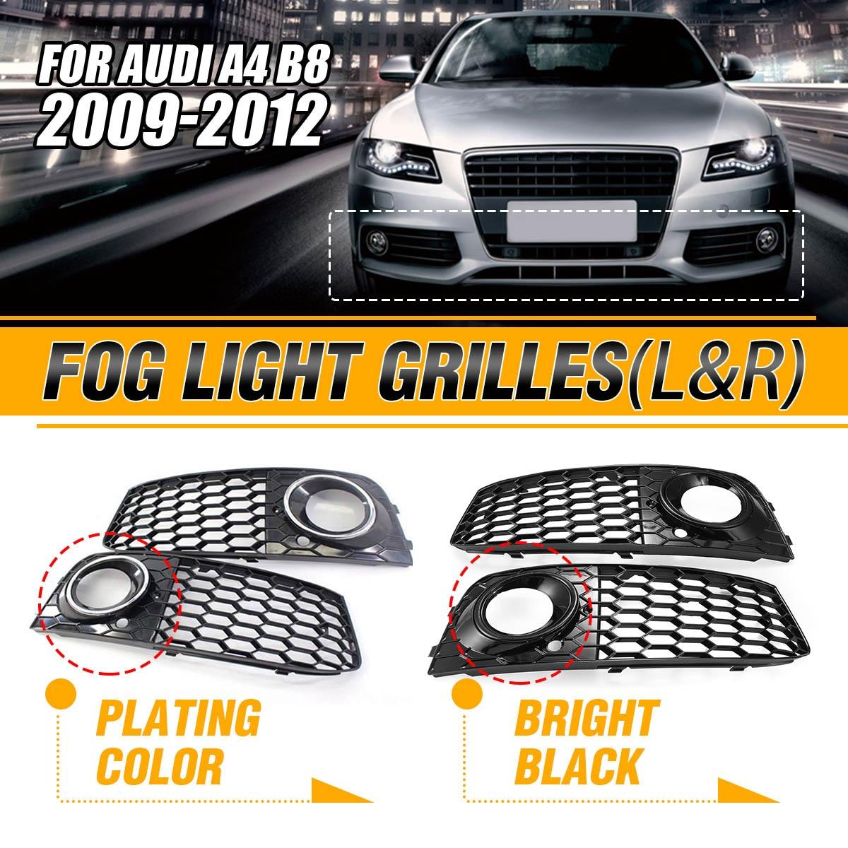 Genuine AUDI Q5 2009-2012 Front Bumper Fog Outer Grilles Black chrome trim PAIR