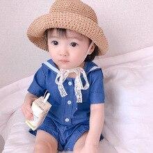 e5c581a11540 2019 New Spring Baby Girl Rompers Korean Style Cotton Short Sleeve Sailor  Collar Cute Kids Climbing