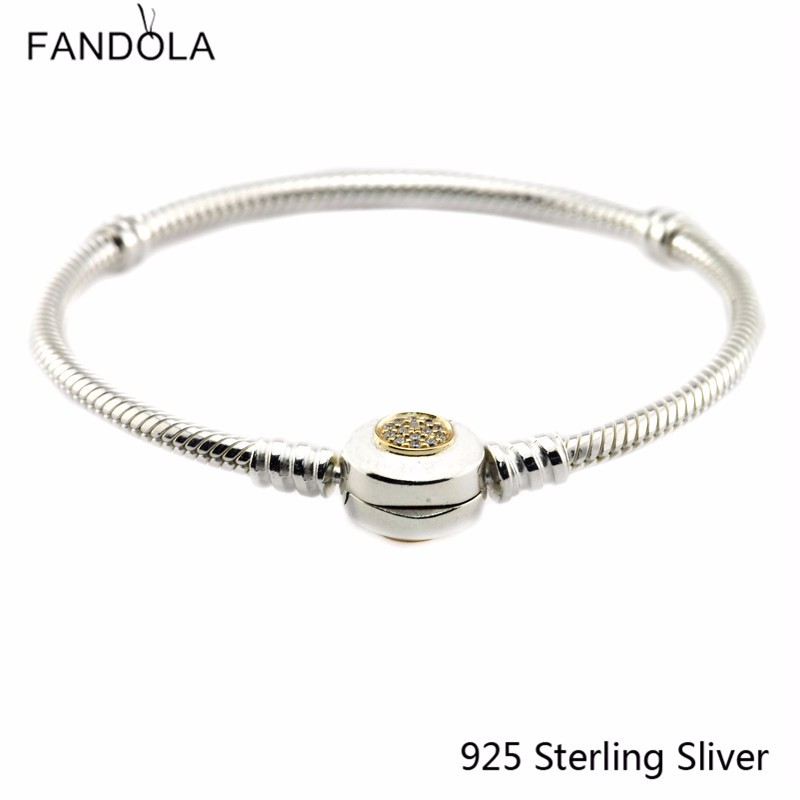 CKK 925 Sterling Silver 14K Gold Clasp Bracelets For Women Original Jewelry Making Fits For Charms and Beads