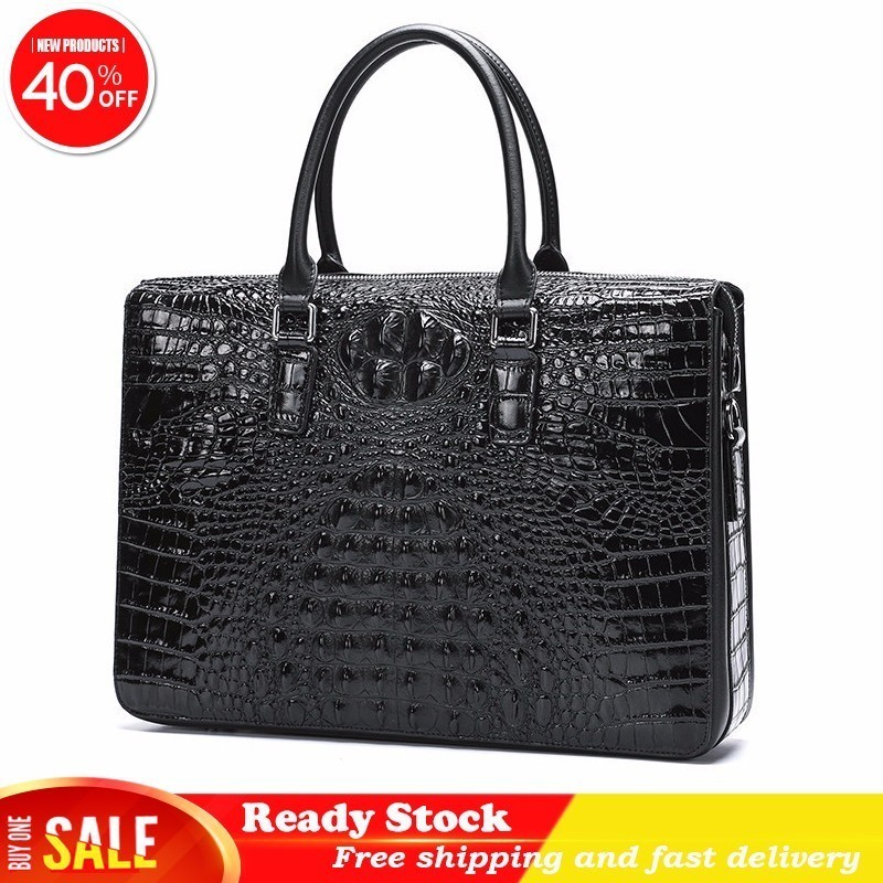 Luxury brand Crocodile Pattern Cow Leather satchel Man Shoulder Messenger Password Lock Men Computer Business document case Best