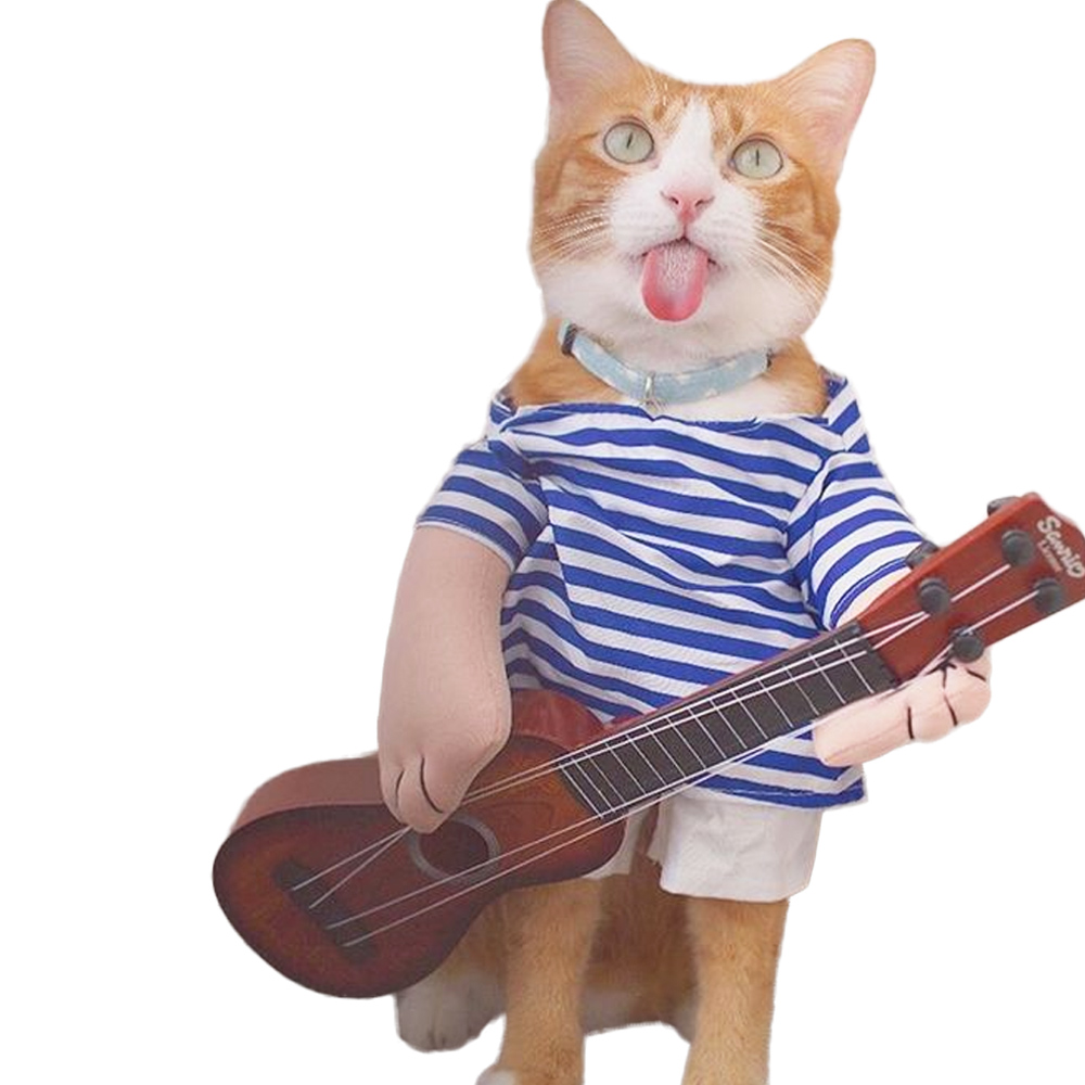 Funny Pet Costumes Guitar Rock Singer Cosplay Suit Clothes For Cats Puggy Dogs Halloween Outfit Jeans Costume For A Cat