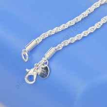 PATICO 1PC 3mm Width Pure 925 Silver Charm Rope Necklace Chains Jewelry With Good Quality Lobster Clasps Set 16-24Inches