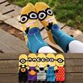 New Arrived Cotton Minions Socks  For Female Cute Cartoon Korean Style Momen Socks Candy Colors Short In Tube Sock