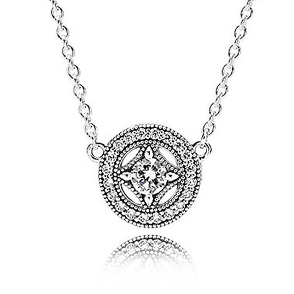 Authentic 925 Sterling Silver Necklace Allure Collier With Crystal Pendant Necklace For Women Wedding Gift fit Lady Jewelry