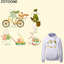 ZOTOONE Cute Rabbit Color Egg Easter Stickers Iron on Patch Printed T-shirt Sweater Thermal Transfer Paper for Clothing E