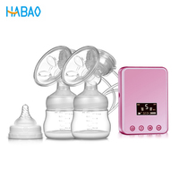 2018 New Electric Habao Breast Pump Single/Double With Milk Bottle Infant USB free Powerful Intelligent Automatic Breast Pumps