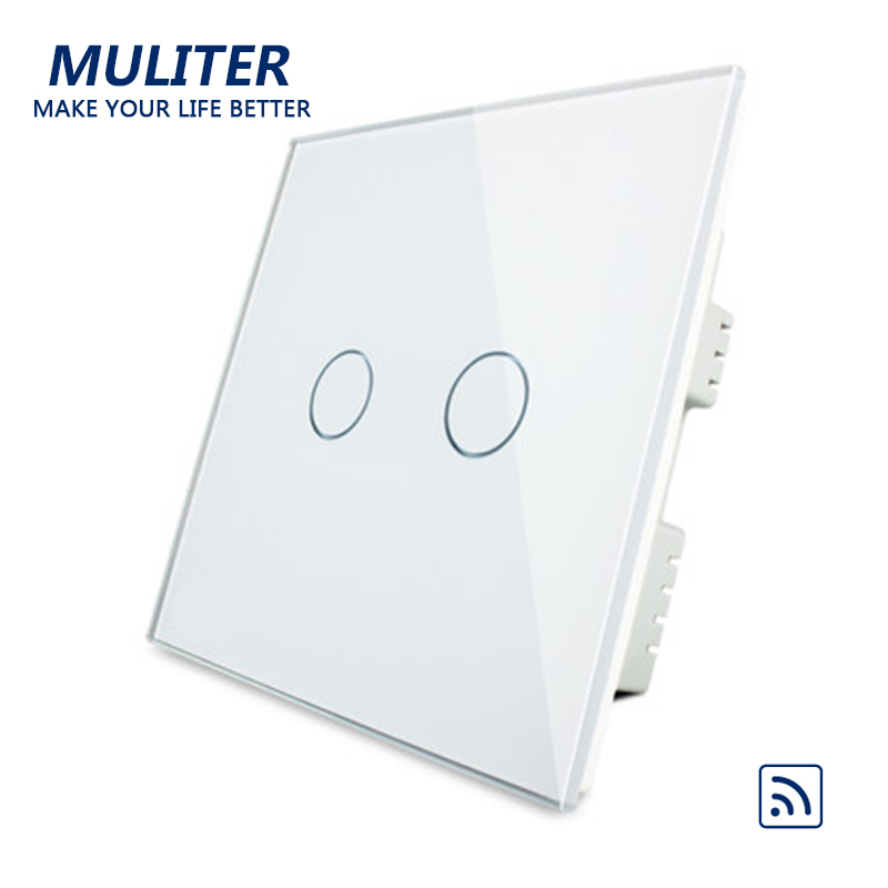 UK Standard Crystal Glass Panel Smart Touch Wall Light Switch 2 Gang 1 Way Wireless Remote Control Light Switches remote touch wall switch uk standard 1 gang 1way rf control light white crystal glass panel switches electrical